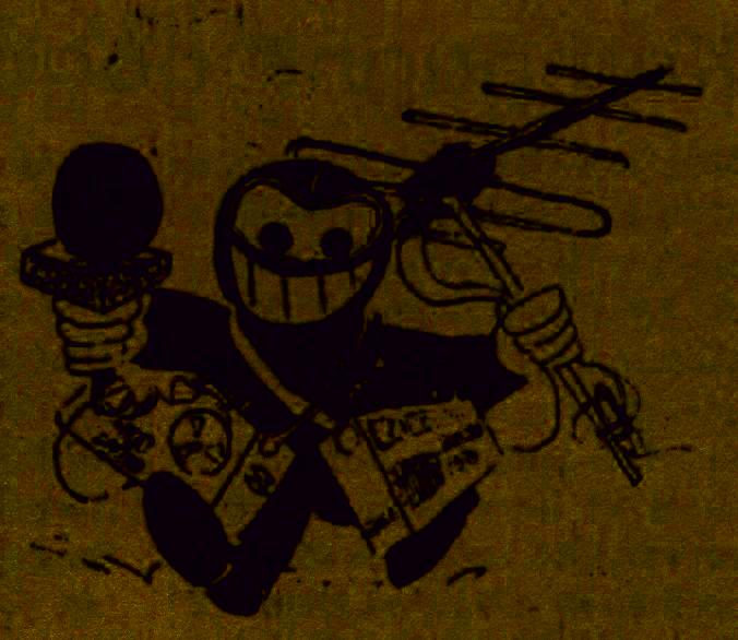 Zeichnung Radiopiratin mit Mikrofon, Tonbandgerät und Antenne