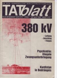 TATblatt +34 aus 1995 über Tod von Peter und Gregor bei versuchtem Anschlag auf 380-kV-Mast bei Ebergassing